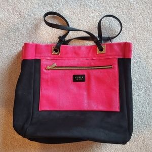 FURLA Black and Pink Tribe M Shopper Handbag